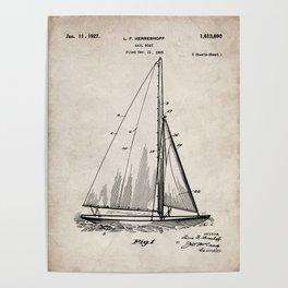 Sailboat Patent - Yacht Art - Antique Poster