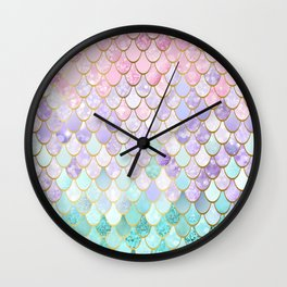 Iridescent Mermaid Pastel and Gold Wall Clock
