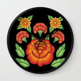 Mexican Folk Pattern – Tehuantepec Huipil flower embroidery Wall Clock