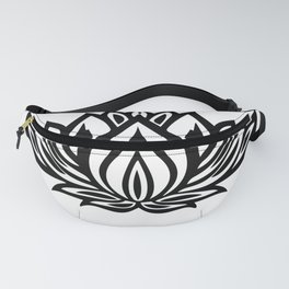 Black and White Lotus Pattern Fanny Pack
