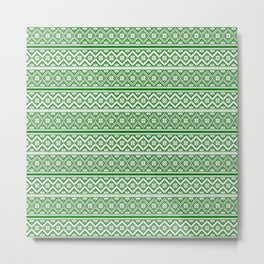 Green and White Classic Nordic Christmas Pattern Metal Print