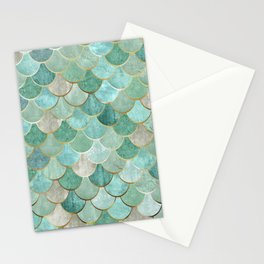 Moroccan Mermaid Fish Scale Pattern, Green and Gold Stationery Cards