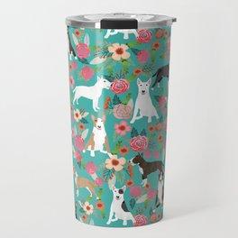 Bull Terrier dog breed pattern florals dog lover gifts pet friendly designs Travel Mug