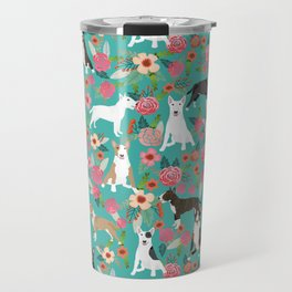 Bull Terrier dog breed pattern florals dog lover gifts pet friendly designs Travel Mug
