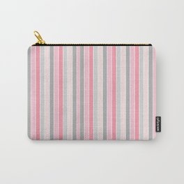 Classic Pink and Gray Stripes Carry-All Pouch