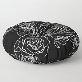 Feminine and Romantic Rose Pattern Line Work Illustration on Black Floor Pillow