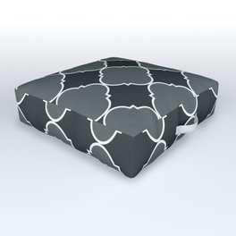 PPG Paint Night Watch Moroccan Tile Ornamental Pattern with White Border Outdoor Floor Cushion