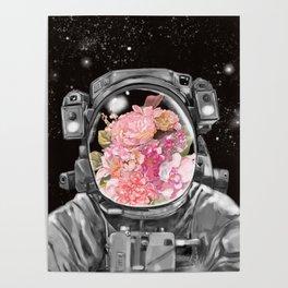 Astronaut Flowers Selfie Poster
