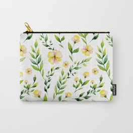 Modern hand painted yellow green watercolor spring flowers Carry-All Pouch