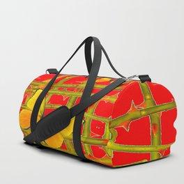 YELLOW BUTTERFLIES & RED THORN LATTICE Duffle Bag