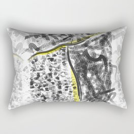 Minimal contemporary drawing black yellow white Rectangular Pillow