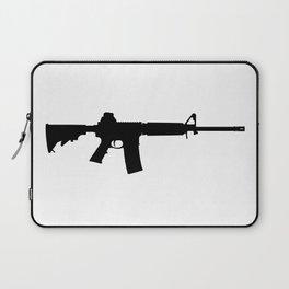 AR15 in black silhouette on white Laptop Sleeve