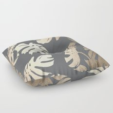 Simply Tropical Palm Leaves White Gold Sands on Storm Gray Floor Pillow