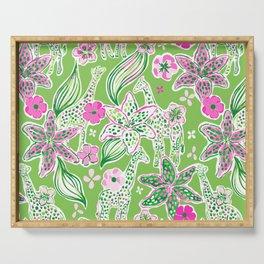 Fun Preppy Whimsical Giraffe Floral Print / Pattern Serving Tray