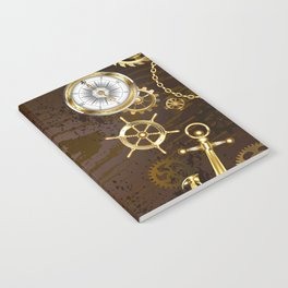 Wooden Background with Mechanical Seahorse ( Steampunk ) Notebook