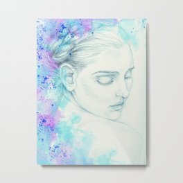 Victorian Lady Watercolor Ink Teal Metal Print