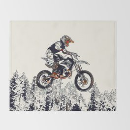 """""""High Flyer"""" Motocross Racer Throw Blanket"""