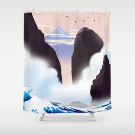 I see Mt. Fuji from the misty coast Shower Curtain