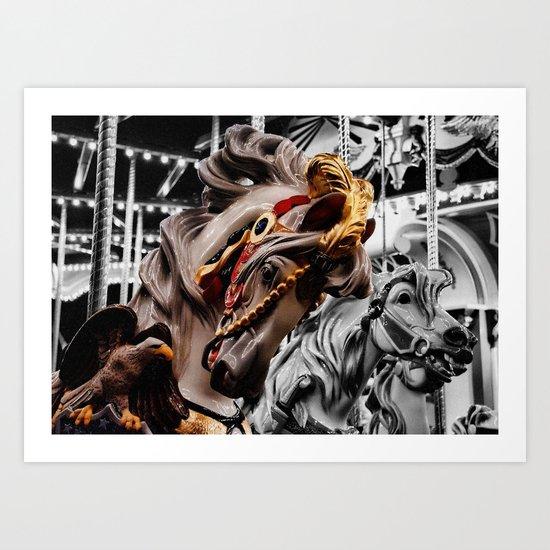 Color Black horses Art Print