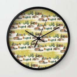 Mid Century Snow Chartruese Wall Clock