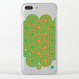 op art pattern retro circles in green and orange Clear iPhone Case