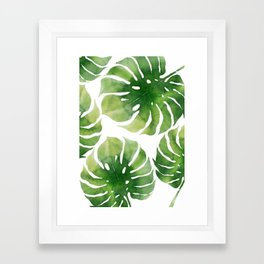 Monstera watercolor I Framed Art Print