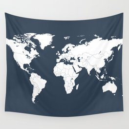 Minimalist World Map in Navy Blue Wall Tapestry