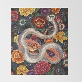 White Snake in the Autumn Garden Throw Blanket