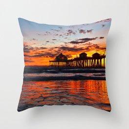 Huntington Beach Sunset   11/30/13 Throw Pillow