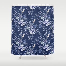 Chinoiserie Flowers Blue on Blue Shower Curtain
