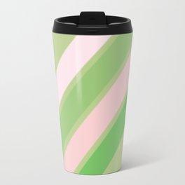 Pink, White and Shades of Green Stripes Travel Mug