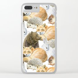 woodland animals pattern Clear iPhone Case