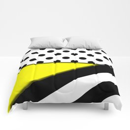 Black & White Polka Dots & Stripes With Yellow Comforters