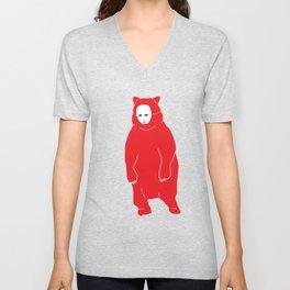 Red Bear Mask Unisex V-Neck