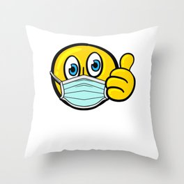 Cute Thumbs Up Emoticon with Facemask Throw Pillow