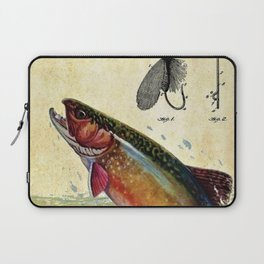 Vintage Trout Fly Fishing Lure Patent Game Fish Identification Chart Laptop Sleeve