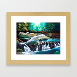 Mountain stream scenery of autumnal leaves Framed Art Print