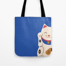 Blue Lucky Cat Maneki Neko Tote Bag