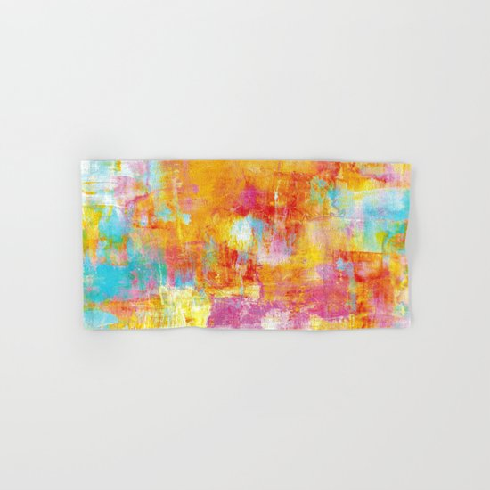 OFF THE GRID Colorful Pastel Neon Abstract Watercolor Acrylic Textural Art Painting Nature Rainbow  Hand & Bath Towel