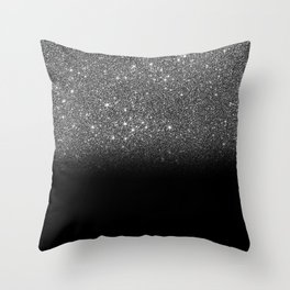 Black & Silver Glitter Ombre Throw Pillow