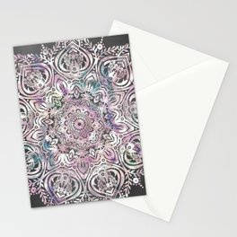 Dreams Mandala - Magical Purple on Gray Stationery Cards