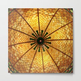 Golden Stained Glass Scales Metal Print