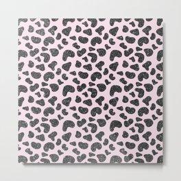 Girly pastel pink hipster black glitter animal print Metal Print