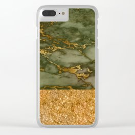 Green Marble with Gold and Glitter Clear iPhone Case