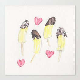 Chocolate, Strawberry, and Banana Hearts Canvas Print