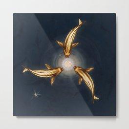 Golden Koi and Lotus Metal Print