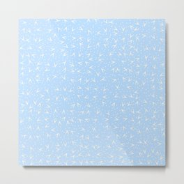 Preppy Blue Dots and Triangles Pattern Metal Print