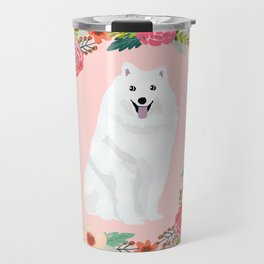 japanese spitz floral wreath dog breed pet portrait pure breed dog lovers Travel Mug