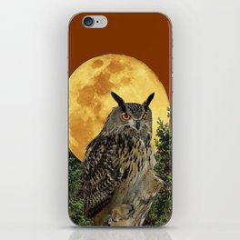 BROWN WILDERNESS OWL WITH FULL MOON & TREES iPhone Skin
