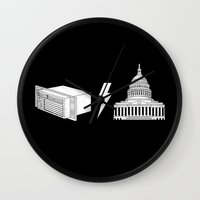 dc Wall Clocks featuring Literal AC/DC by Phil Jones